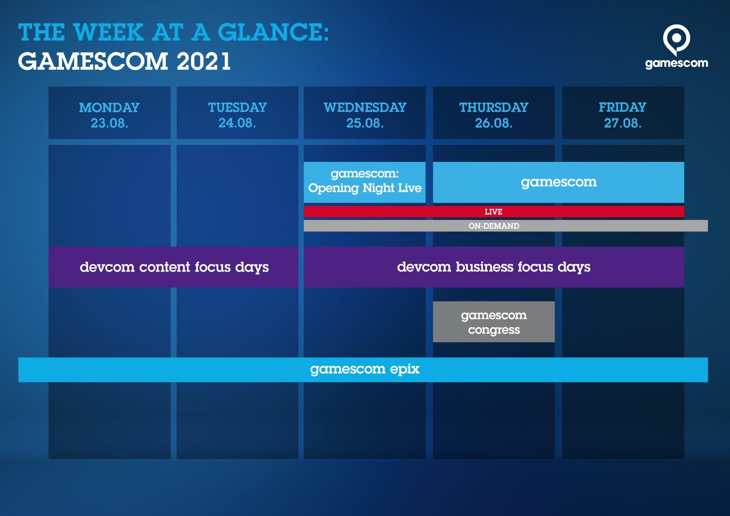 Zeitplan der gamescom 2021 (Foto: Koelnmesse)
