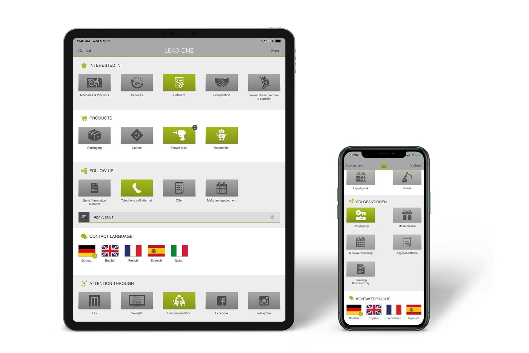 Leaderfassungs-App (Fotos: lead on GmbH)