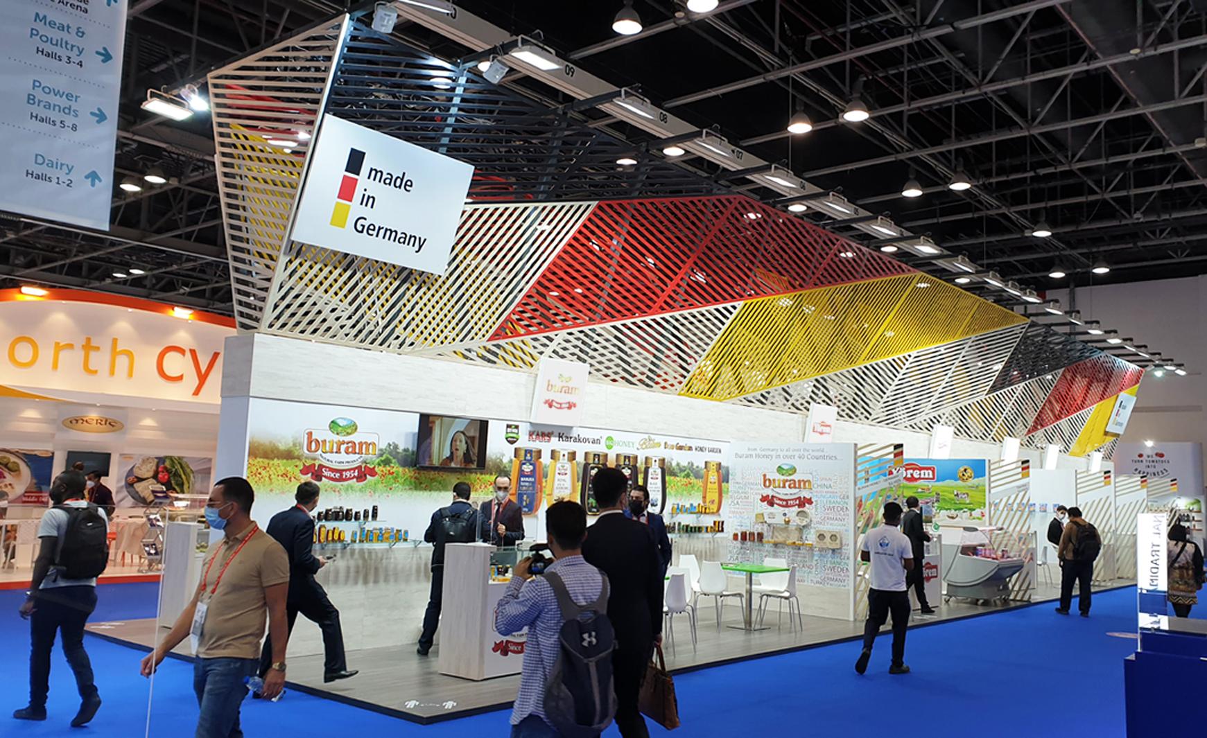 Deutscher Gemeinschaftsstand auf der Gulfood 2021 in Dubai (Foto IEC Berlin)
