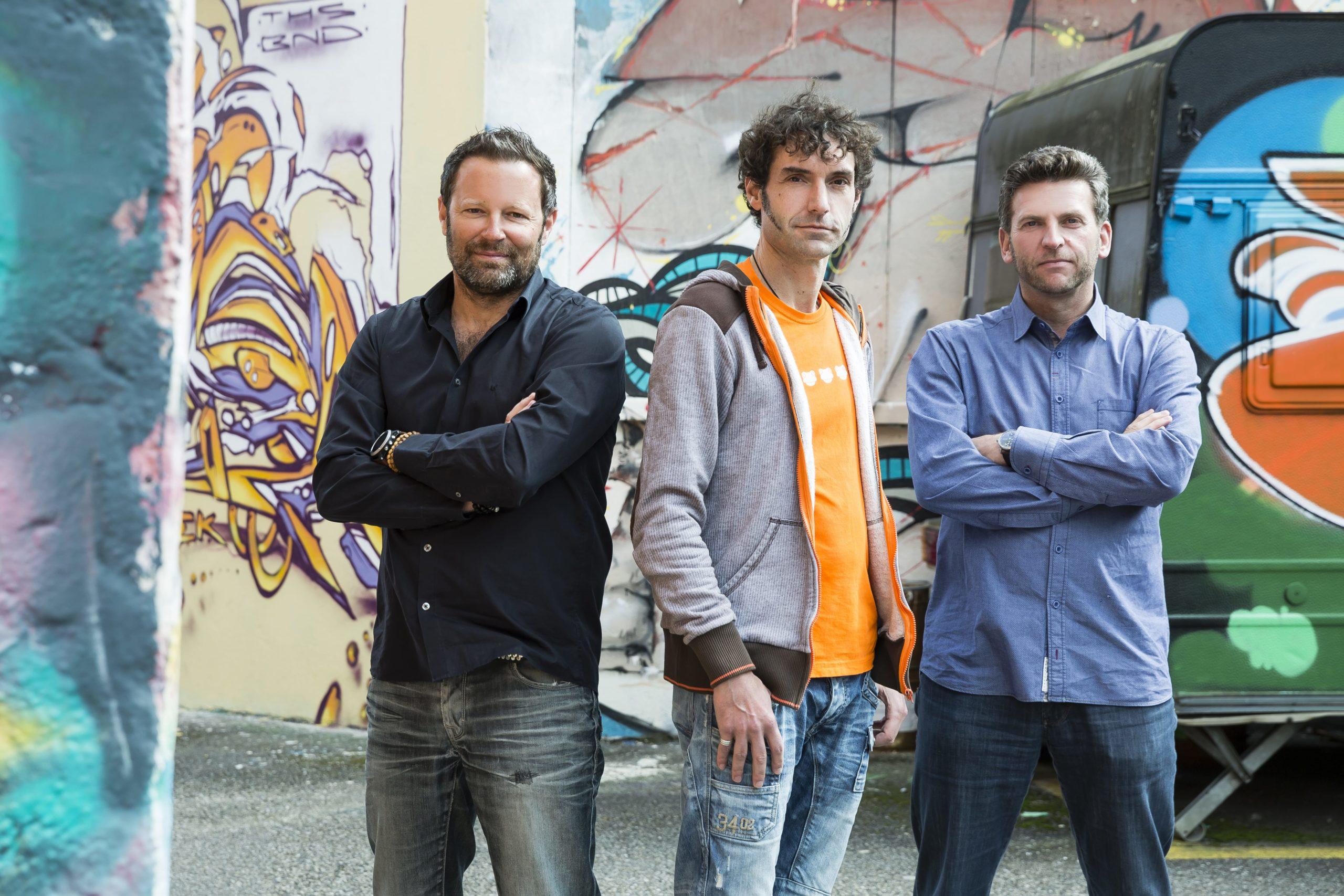Eventfrog-Gründer Reto Baumgartner, Mike Müller und Urs Koller (von links, Foto: Eventfrog)
