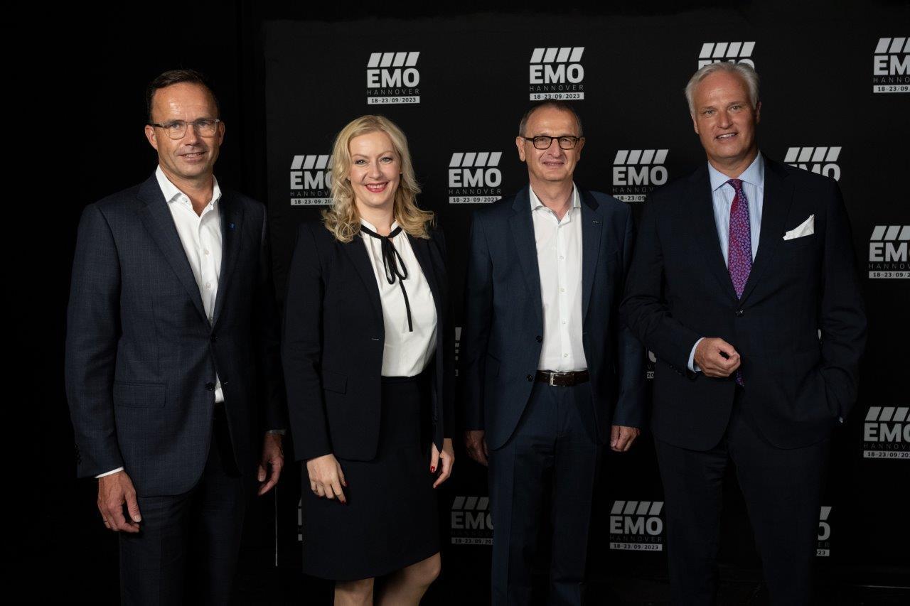 EMO Hannover Relaunch Conference: Dr. Jochen Köckler, Carmen Hentschel, Dr. Wilfried Schäfer, Carl Martin Welcker (von links, Fotos: VDW)